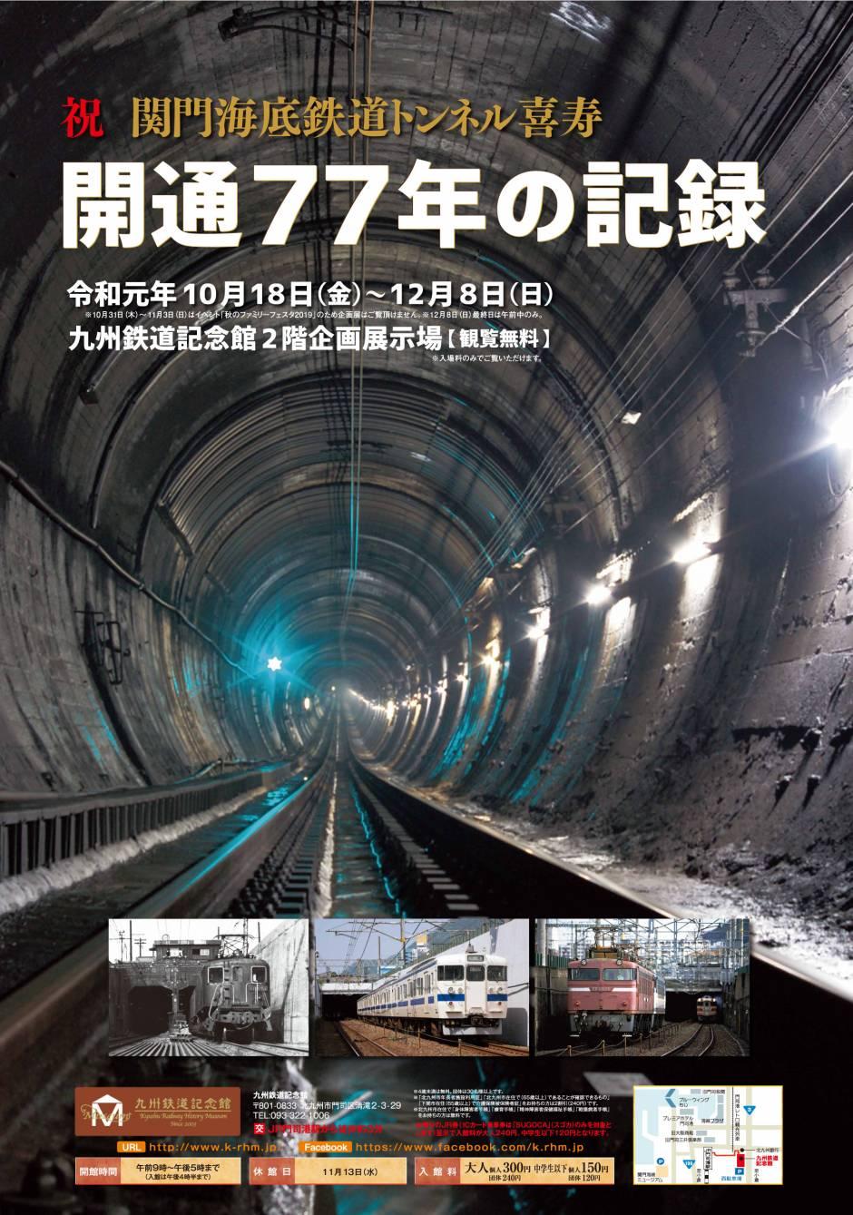 企画展 「祝 関門海底鉄道トンネル喜寿 開業77年の記録」開催